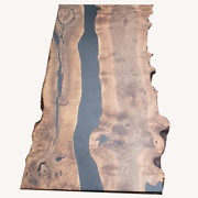 Walnut Tabletop, Handmade, Combined With A Black-color Epoxy Resin Luxury Decors
