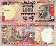 India 1000 Rs 2005 R Inset Reddy Paper Money Currency Bank Note Unc New Rare