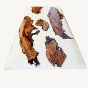 White Epoxy Natural Wood Walnut River Dining Table Furniture Decor Made To Order
