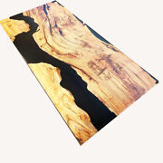 Luxury Furniture Black Epoxy Table Top Oak Wood Dining Room Decor Made To Order