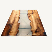Walnut Clear Transparent Brown Epoxy Live Edge Dining Table Deco Made To Order