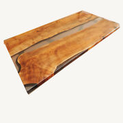 Walnut Transparent Clear Epoxy Dining Table Liv Edge Kitchen Deco Made To Order