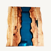 Custom Dark Blue Transparent Epoxy Dining Table Outdoor Decorative Made To Order