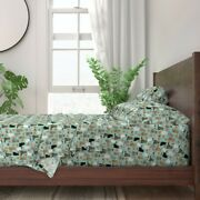 Green Pizza Cat Cats Pizzas Lady 100 Cotton Sateen Sheet Set By Roostery