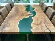Green Wavy Transparent Epoxy Design Edge Dining Table Home Deco Made To Order
