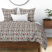 Fox Woodland Animal Autumn Squirrel Damask Acorn Sateen Duvet Cover By Roostery