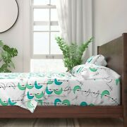 Aqua 1950s Retro Boomerangs Vintage 100 Cotton Sateen Sheet Set By Roostery