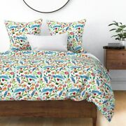 Spring Watercolor Bees Butterflies Birds Rabbits Sateen Duvet Cover By Roostery