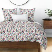 Blue Birds Floral Summer Bird Pink Vintage Sateen Duvet Cover By Roostery