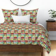 Radios Fifties Music Retro Vintage Pastel Colors Sateen Duvet Cover By Roostery