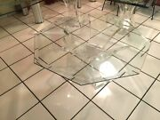 Hollywood Regency Acrylic/lucite Butterfly Wing Glass - 2 End And 1 Coffee Table
