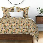 Organic Farm Farmers Market Fresh Corn Tractor Sateen Duvet Cover By Roostery