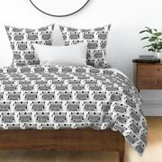 Typewriters Black And White Typing Books Sateen Duvet Cover By Roostery
