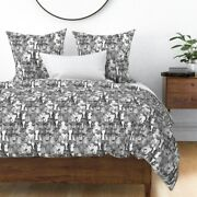Cattle Cow Farm Modern Cows Illustration Black Sateen Duvet Cover By Roostery