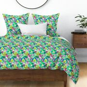 Tropical Flowers Floral Pink Green Bright Colors Sateen Duvet Cover By Roostery