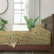 Floral Persian Arabic Traditional 100 Cotton Sateen Sheet Set By Roostery