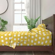 Polka Dot Modern Minimalist Yellow And 100 Cotton Sateen Sheet Set By Roostery