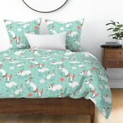 Rabbits Spring Bunny Easter Rabbit Illustration Sateen Duvet Cover By Roostery