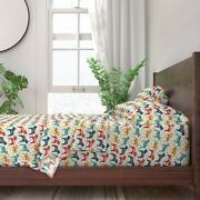Swedish Traditional Colorful Horse Dala 100 Cotton Sateen Sheet Set By Roostery