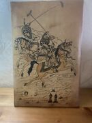 Antique Persian Hand Painted On Leather Horses Riding