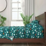 Christmas Santa Snow Village Sleigh 100 Cotton Sateen Sheet Set By Roostery