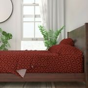 Arrows Indian Symbols Friendship Red 100 Cotton Sateen Sheet Set By Roostery