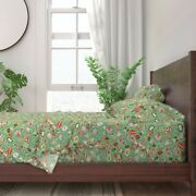 Retro Vintage Christmas Santa Ornaments 100 Cotton Sateen Sheet Set By Roostery