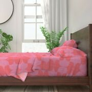 Coral Pink Lipstick Red Magenta 100 Cotton Sateen Sheet Set By Roostery