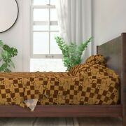 Coffee Bean Brown Plaid Square Shop 100 Cotton Sateen Sheet Set By Roostery
