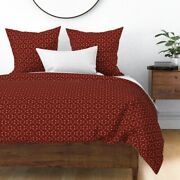 Arrows Indian Symbols Friendship Red Beige Native Sateen Duvet Cover By Roostery