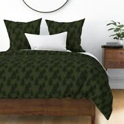 Hunter Green Dark Green Green Forest Trees Sateen Duvet Cover By Roostery