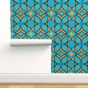 Peel-and-stick Removable Wallpaper Retro Boho Bohemian Abstract Folk Turquoise