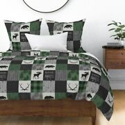 Green Buffalo Plaid Moose Patchwork Adventure Sateen Duvet Cover By Roostery