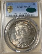 1923 Pcgs/cac Ms65 Peace Silver Dollar