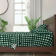 Plaid Gingham Hunter Green Dark 100 Cotton Sateen Sheet Set By Roostery