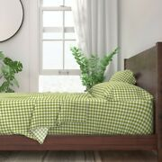 Green White Gingham Cottage House 100 Cotton Sateen Sheet Set By Roostery
