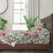 Tropical Leaves Garden Oasis Paradise 100 Cotton Sateen Sheet Set By Roostery