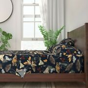 Moths And Lightbulbs Nocturnal Insects 100 Cotton Sateen Sheet Set By Roostery