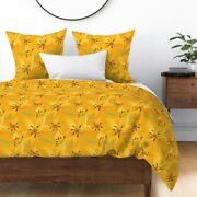 Day Lily Lilies Sunshine Yellow Golden Garden Sateen Duvet Cover By Roostery