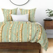 Birches Birch Grove Birch Forest Forest Yellow Sateen Duvet Cover By Roostery