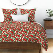 Painting Red Floral Garden Green Bright Colors Sateen Duvet Cover By Roostery