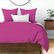 Hot Pink Retro Christmas Oval Large Scale Polka Sateen Duvet Cover By Roostery