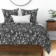 Endangered Animals Zebra Stripes Black And White Sateen Duvet Cover By Roostery