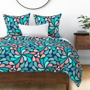 Retro Psychedelic 70s Seventies Navy Teal Sateen Duvet Cover By Roostery