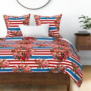 4th Of July Floral Patriotic American Americana Sateen Duvet Cover By Roostery
