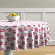 Round Tablecloth Lips Pink And White Watercolor Valentine Kisses Cotton Sateen
