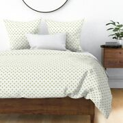 Half Inch Polka Dot Green White Cottage House Sateen Duvet Cover By Roostery