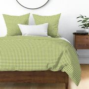 Green White Gingham Cottage House Shabby Chic Sateen Duvet Cover By Roostery