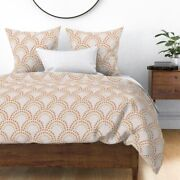 Valentines Day Mustard And Gold Art Deco Woven Sateen Duvet Cover By Roostery
