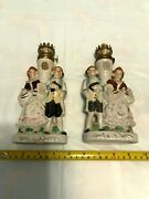 Set Of 2 Vintage Boy And Girl Hurricane Oil Lamps Retro Classical Look Granny Chic